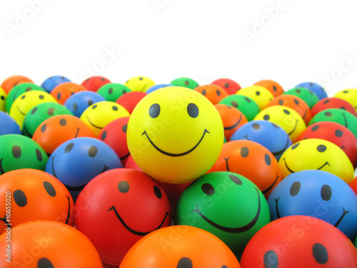 Fotomural Yellow smiley and hundred smileys rubber balls