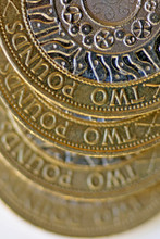 Gradual Blur Close Up Two Pound Coins