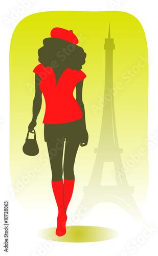 Fotobehang Illustratie Parijs pretty parisian girl