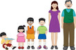 asian extended family illustration on a white background