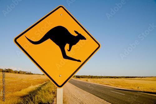 Deurstickers Australië Kangaroo warning sign Australia