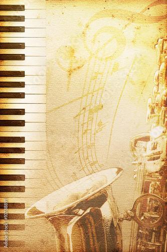 Fotografie, Obraz  old jazz paper