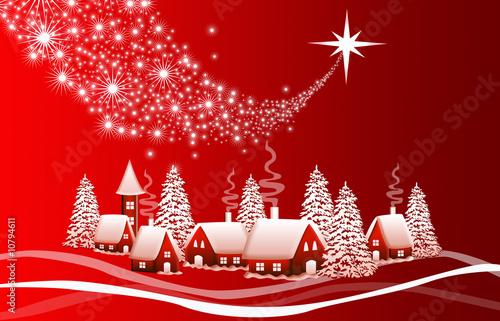 Foto op Plexiglas Rood Red Christmas landscape