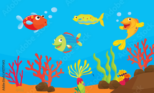 Aluminium Prints Submarine reef fish illustration