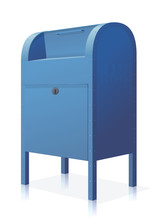Closed Blue Mailbox