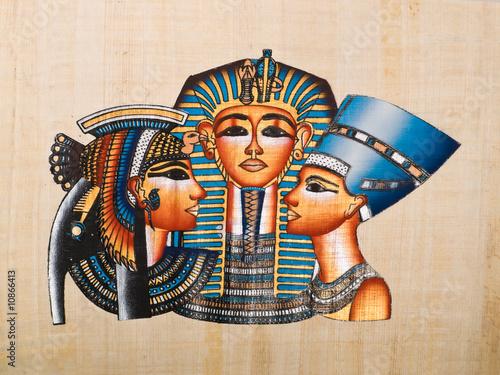 Foto-Stoff bedruckt - Egyptian papyrus: Tutankhamen, Nefertiti and Anhksenamon (von Jose Ignacio Soto)