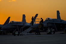 Military Jets At Sunset
