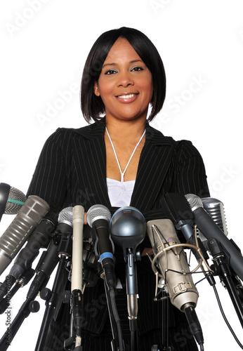 Fotografía  Woman Behind Microphones