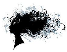 Floral Hairstyle, Woman Face Silhouette For Your Design