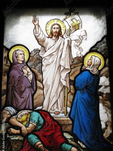 In de dag Stained Vitrail avec scène religieuse.