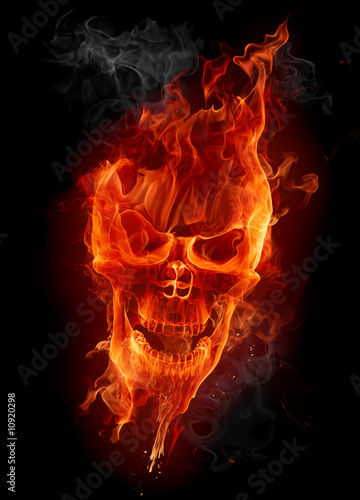 Montage in der Fensternische Flamme Fire skull