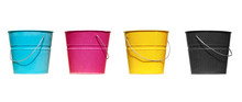 Four Buckets Of Different Colors