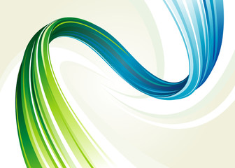 Abstract blue and green flowing background. Layered.