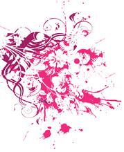 Floral Grunge Rose Et Mauve