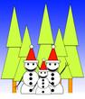 Leinwandbild Motiv Forest Snowman Family 4