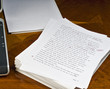 Leinwanddruck Bild - Proofreaders marks on a first draft copy.