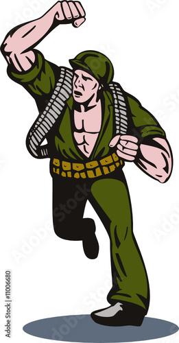 Deurstickers Militair American soldier punching