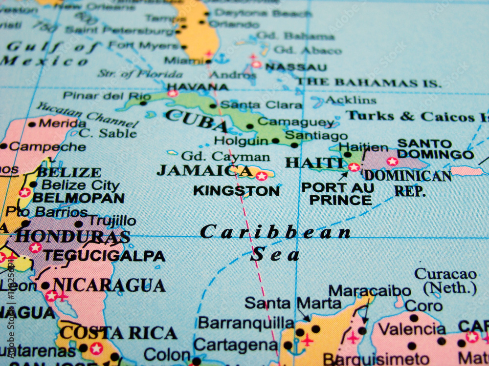 Map of the Caribbean Sea Foto, Poster, Wandbilder bei EuroPosters