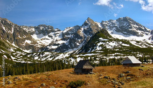 Shelters in Gasienicowa pasture valley in polish Tatra mountains