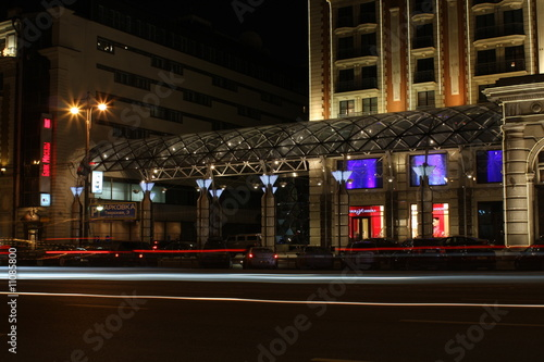 Poster Muziekwinkel buildings at night in Moscow