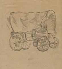Fototapeta na wymiar wagon, drawing