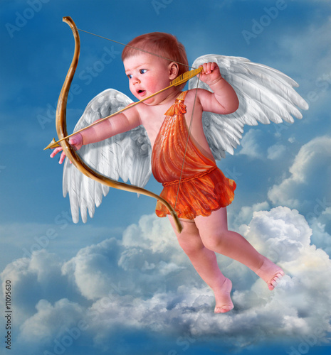 Baby cupid with angel wings Canvas Print