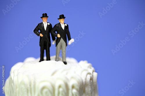 Fotografie, Obraz  Miniature homosexual couple on a wedding cake. Gay marriage.