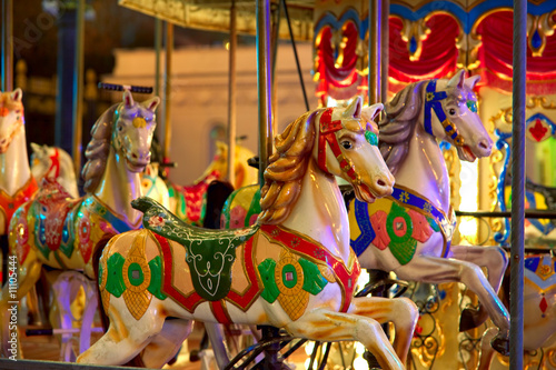 Fotografie, Tablou  Merry-go-round 2. Old-fashioned roundabout with horses.