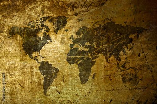 Wall Murals Old dirty textured wall art World Map grunge