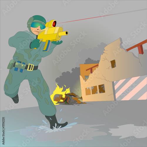 Deurstickers Militair Military man fighting