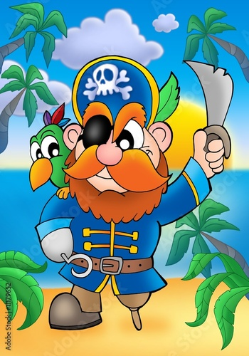 Photo sur Toile Pirates Red hair pirate with parrot