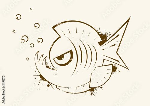 Fotografia, Obraz  piranha fisch logo