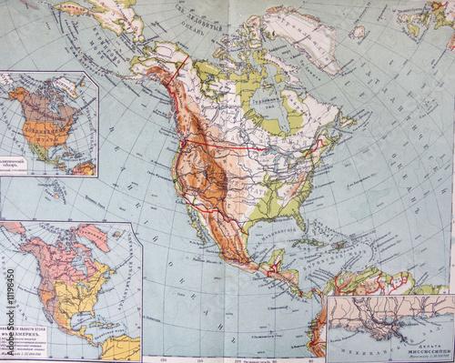 In de dag Wereldkaart old XIX century geographical mapbook open