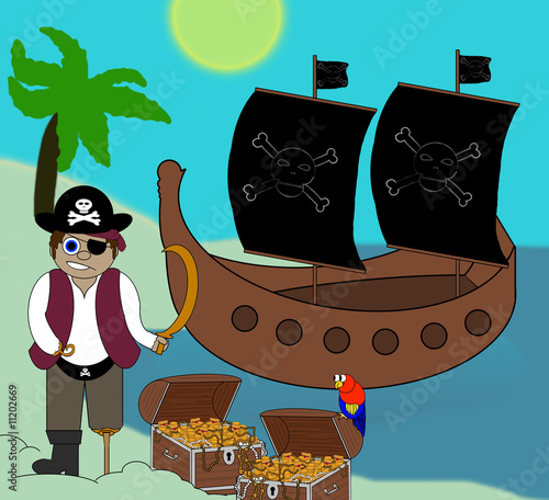 Photo sur Toile Pirates Pirate Cartoon With Ship & Treasure - Isolated on white