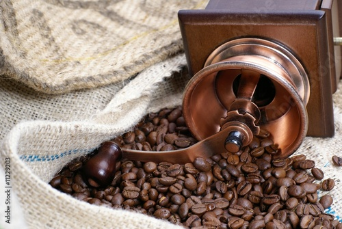 Printed kitchen splashbacks Coffee beans café en grains prêt à moudre