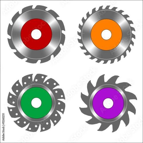 Cadres-photo bureau Creatures round blades for circular saw, vector illustration