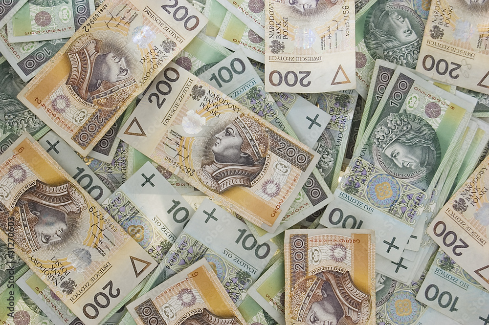 Fotografía  polish zloty banknotes background