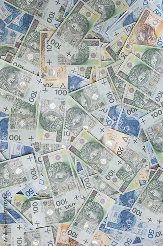 Fotografía polish zloty banknotes background