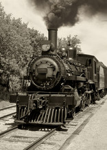 Old Locomotive Sepia