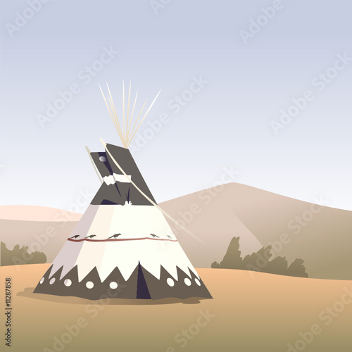 Poster Indiens tepee d'autunno