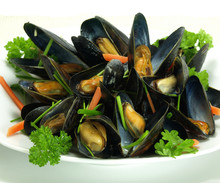 Steamed And Garnished Mussels
