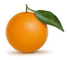 Orange Fruit With Green Leaf Isolated On White Background