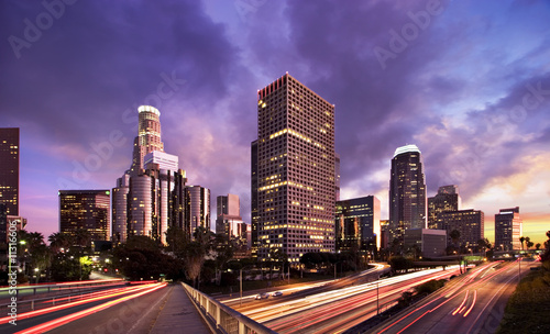 Foto op Plexiglas Los Angeles Los Angeles during rush hour at sunset