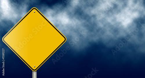 Obraz na płótnie Blank Traffic Sign on Dark Stormy Sky