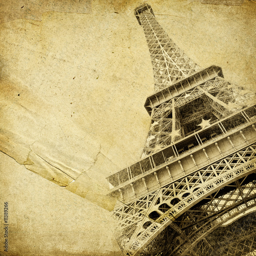 vintage paper with eiffel tower #11389266