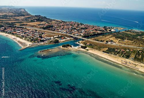 In de dag Australië Potidea sea canal in Greece, aerial view