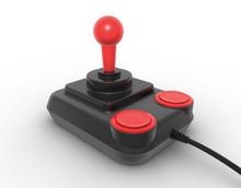 Retro Joystick On White. Digitally Generated Image.
