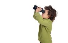 Adorable Spy Boy With Binoculars