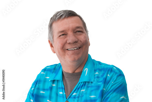 Photo  Portrate of smiling senior man, isolated on white.