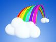 Cartoon rainbow on the clouds.